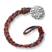 Vintage Americana Woven Leather Bracelet with Disciples Cross Clasp