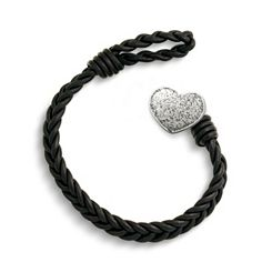 Black Single Cordovan Braided Leather Bracelet with Textured Heart Clasp at James Avery