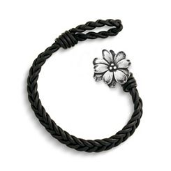 Black Single Cordovan Braided Leather Bracelet with Wildflower Clasp at James Avery