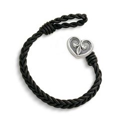 Black Single Cordovan Braided Leather Bracelet with Scrolled Heart Clasp at James Avery