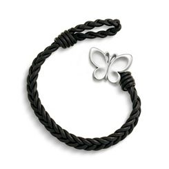 Black Single Cordovan Braided Leather Bracelet with Butterfly Clasp at James Avery