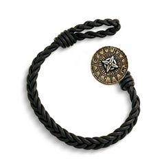 Black Single Cordovan Braided Leather Bracelet with Point the Way Button Clasp at James Avery