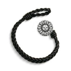Black Single Cordovan Braided Leather Bracelet with My Sunshine Clasp at James Avery