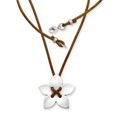 Flower on Leather Necklace with Sterling Silver Clasp at James Avery