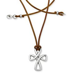 Woven Cross on Leather Necklace with Sterling Silver Clasp at James Avery