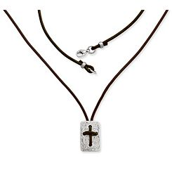 Leather Cross Shield Necklace with Sterling Silver Clasp at James Avery