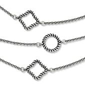 Twisted Rope Circles & Squares Necklace