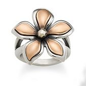 Silver & Copper Petal Ring