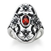 Dogwood Blossoms Ring with Garnet
