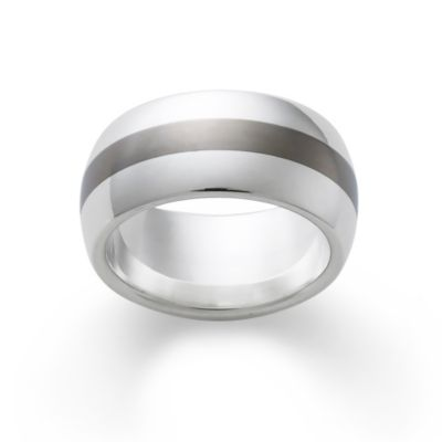 Silver Band with Titanium Center James Avery