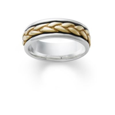 Silver Wedding Band with Gold Braid James Avery