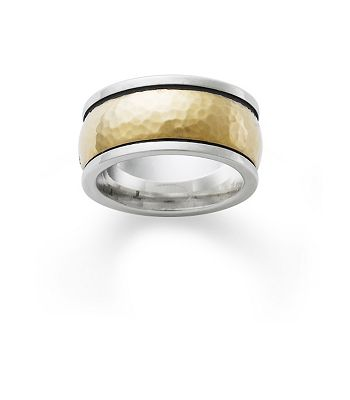 Hammered Gold Silver Wedding Band