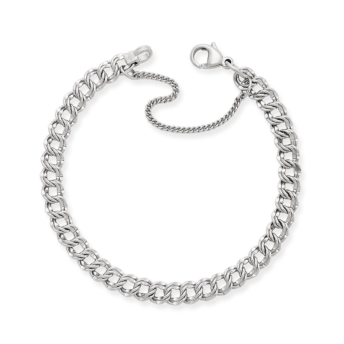 Light Double Curb Charm Bracelet