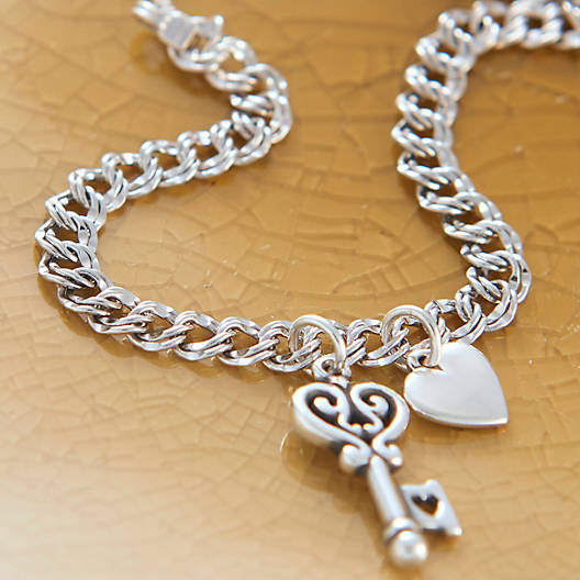 View Larger Image of Light Double Curb Charm Bracelet