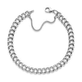 Medium Double Curb Charm Bracelet