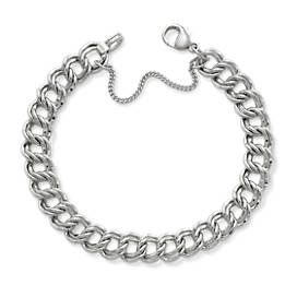 Heavy Double Curb Charm Bracelet