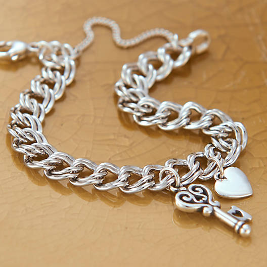 View Larger Image of Heavy Double Curb Charm Bracelet