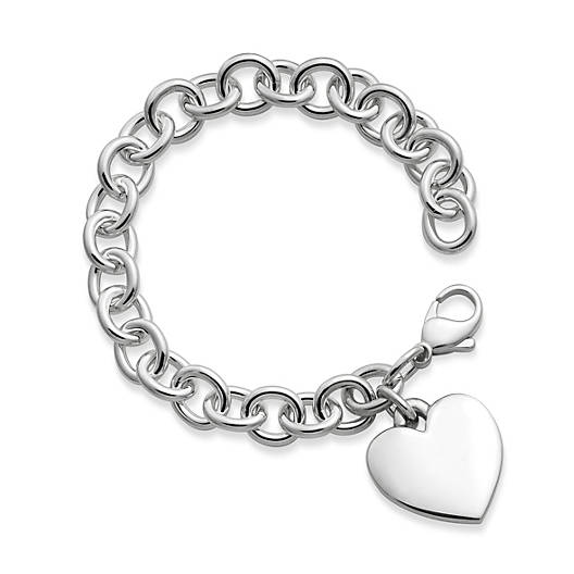View Larger Image of Classic Cable Charm Bracelet with Heart