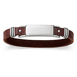 Men's Leather & Silver ID Bracelet
