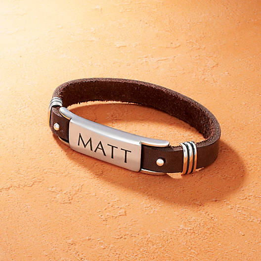 View Larger Image of Men's Leather & Silver ID Bracelet