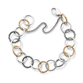 Gold & Silver Loops Charm Bracelet