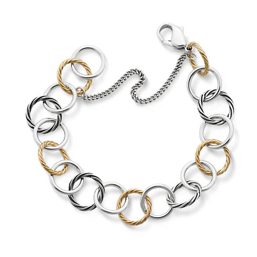 View Larger Image of Gold & Silver Loops Charm Bracelet