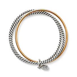 Bronze Silver Twist Bangle Bracelet