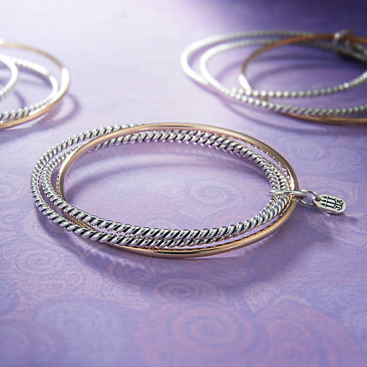 View Larger Image of Bronze & Silver Twist Bangle Bracelet