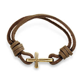 Cross Hook-On Leather Bracelet