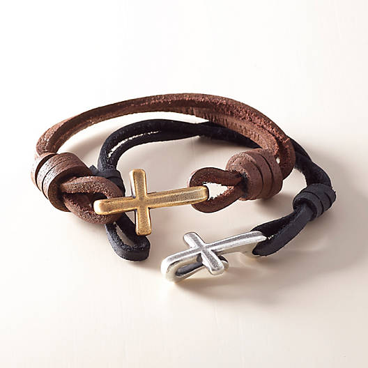 View Larger Image of Cross Hook-On Leather Bracelet