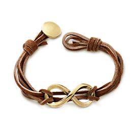 Bronze Infinity Leather Knot Bracelet