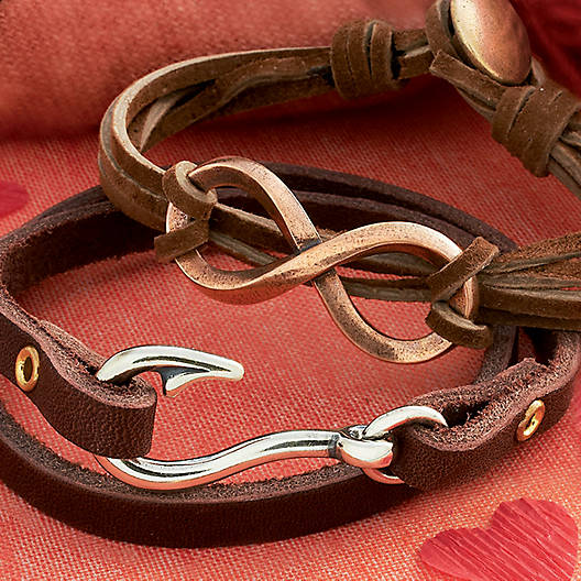 View Larger Image of Bronze Infinity Leather Knot Bracelet
