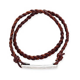 Woven Latitude Antique Brown Leather Bracelet