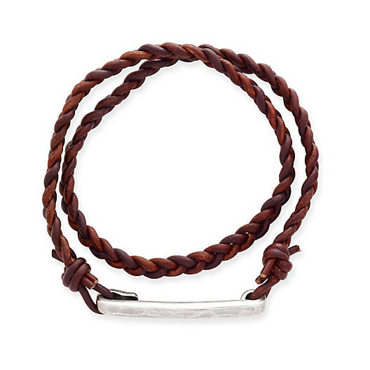 View Larger Image of Woven Latitude Antique Brown Leather Bracelet
