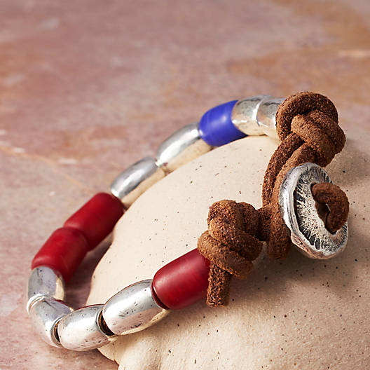 View Larger Image of Rustic Glass Bead Leather Bracelet
