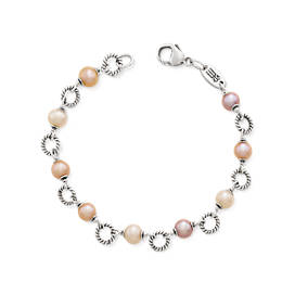 Twisted Wire Link Bracelet with Multi-Colored Cultured Pearls