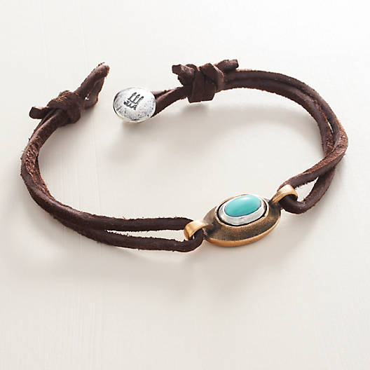 View Larger Image of La Mesa Leather Bracelet with Turquoise