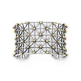 Gold Beaded Lattice Cuff Bracelet