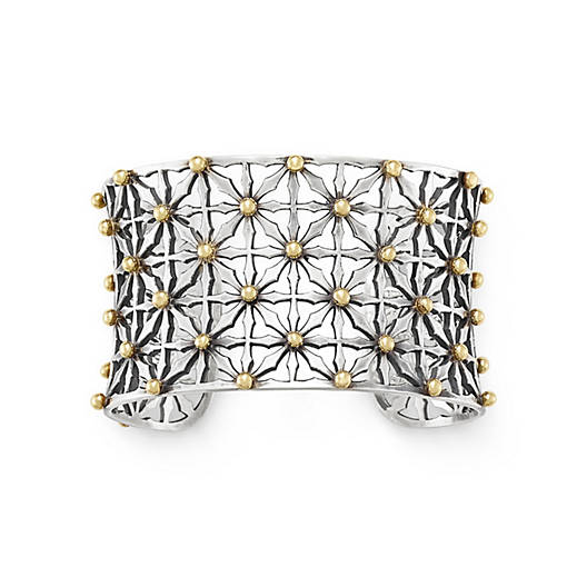 View Larger Image of Gold Beaded Lattice Cuff Bracelet
