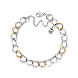 Twisted Wire Connected Hearts Charm Bracelet