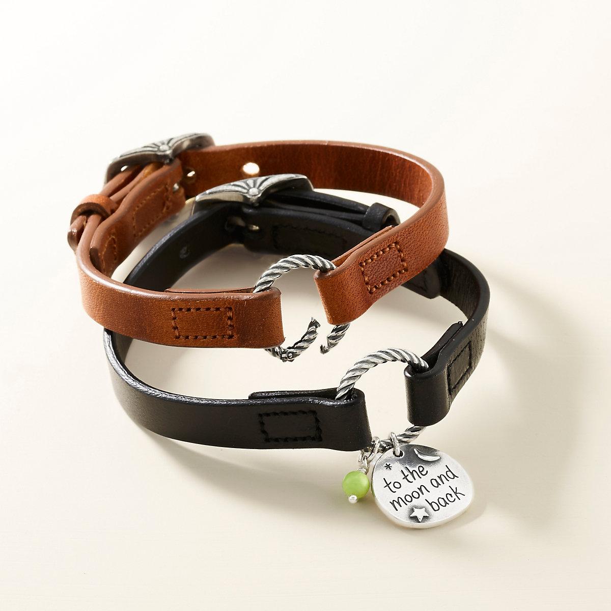 Changeable Leather Charm Bracelet