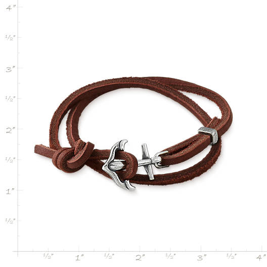 View Larger Image of Anchored In Faith Leather Bracelet
