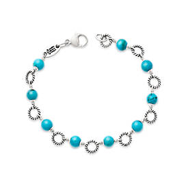 Twisted Wire Link Bracelet with Turquoise
