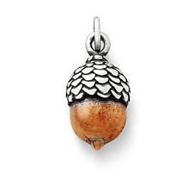 Silver & Copper Acorn Charm