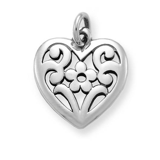 View Larger Image of Floral Heart Charm
