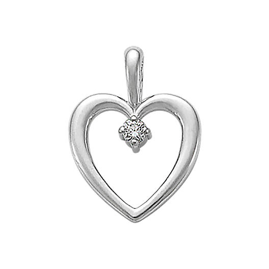 View Larger Image of Heart with Diamond Pendant