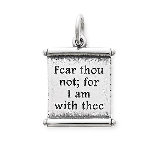 "View Larger Image of ""For I Am With Thee"" Scroll Charm"