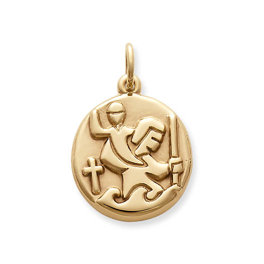 View Larger Image of Round St. Christopher Medal Charm