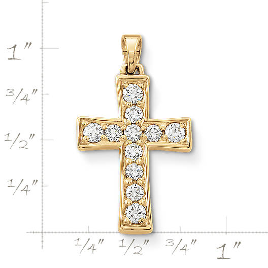 View Larger Image of Plain Latin Cross with Diamonds