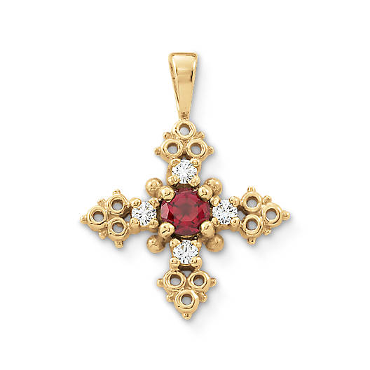 View Larger Image of Luz Del Mundo Lab-Created Ruby Cross with Diamonds
